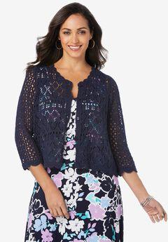 Crochet Sweater, NAVY