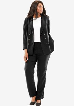 Double-Breasted Pantsuit, BLACK