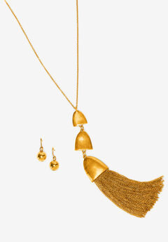 Tassel Necklace & Earring Set,