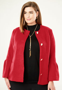 Bell Sleeve Jacket, BRIGHT RUBY