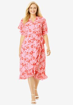 Floral Faux Wrap Dress,