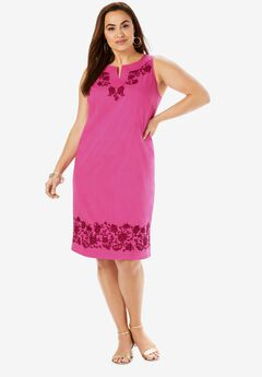 Embroidered Floral Shift Dress,