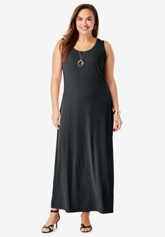Sleeveless Maxi Dress, BLACK