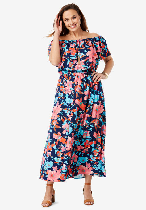 Off-The-Shoulder Maxi Dress| Plus Size Maxi Dresses | Woman Within