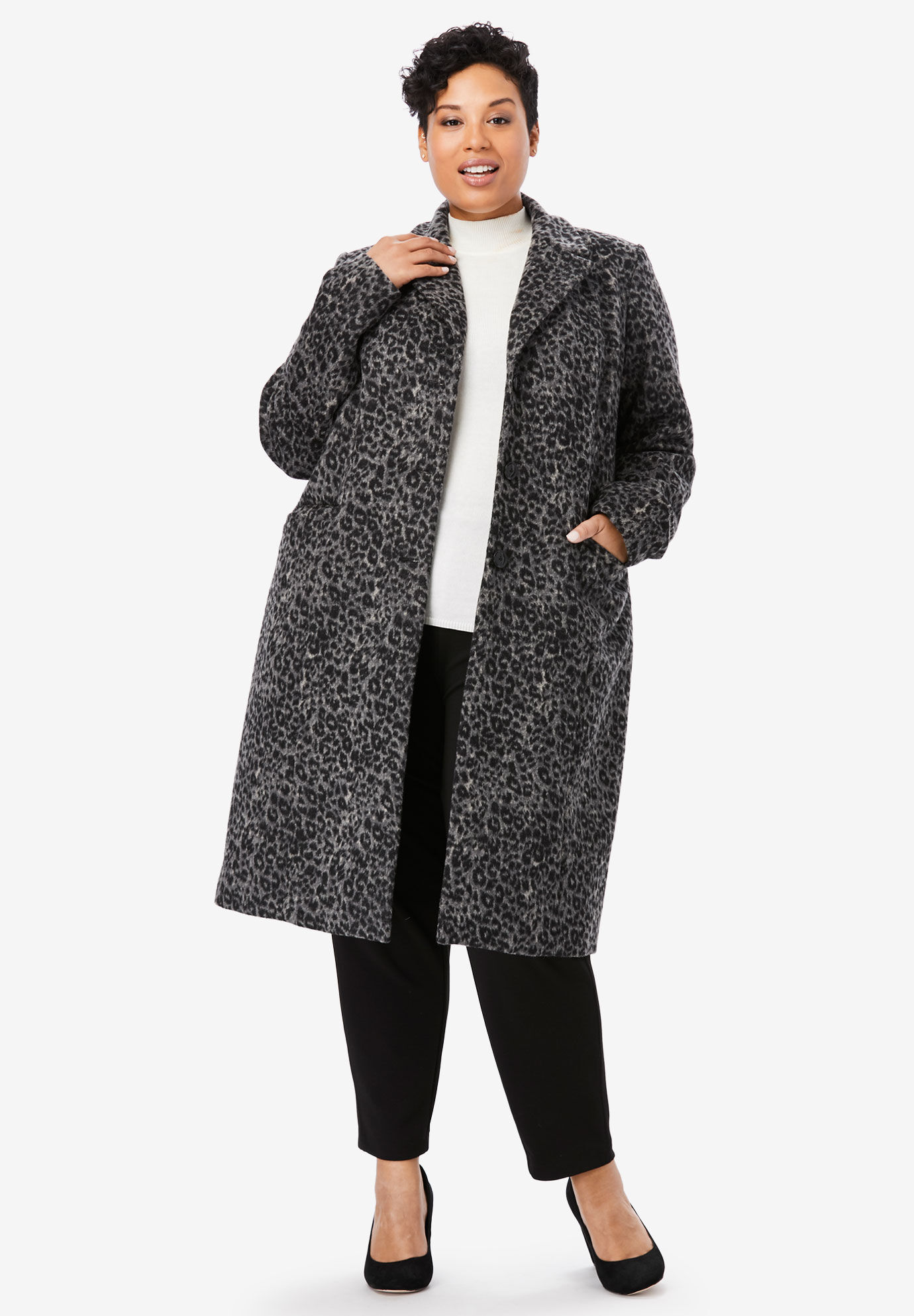 Woman Within Womens Plus Size Wool-Blend Wrap Coat