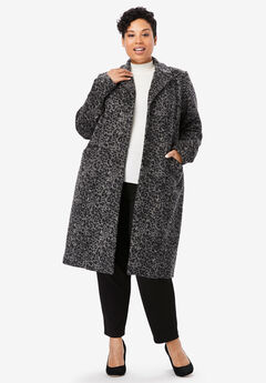 Wool-Blend Coat, GREY ANIMAL PRINT