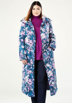 A-Line Puffer Coat, PURPLE ABSTRACT FLORAL