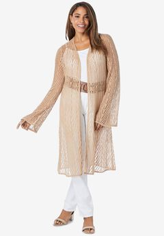 Open-Front Pointelle Cardigan,
