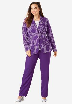 Single Breasted Pant Suit, PURPLE SHADOW FLORAL