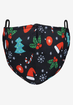 2-Layer Extra Large Reusable Cotton Face Mask - Men's, HOLIDAY TOSS