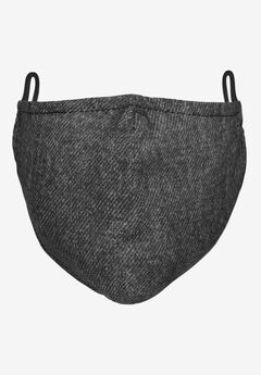 2-Layer Extra Large Reusable Cotton Face Mask - Men's, BLACK DENIM