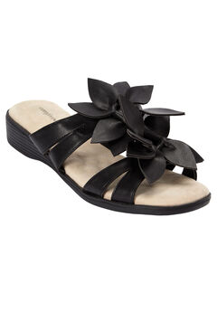 Paula Flower Sandal by Comfortview®, BLACK