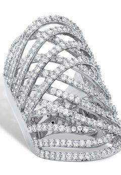Platinum-Plated Cubic Zirconia Crossover Ring,