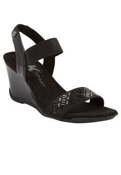 Love Me Wedge Sandals by Anne Klein®, BLACK, hi-res