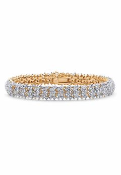 Gold-Plated Diamond Snake Bracelet,