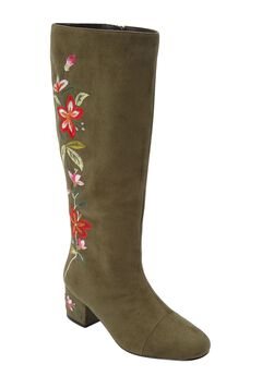 The Wilamina Wide Calf Boot by Comfortview®, DARK OLIVE FLORAL