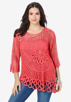 Starburst Crochet Sweater, SOFT GERANIUM