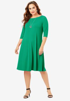 Boatneck Swing Drape Dress with Three-Quarter Sleeves,