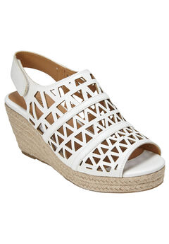Karen Wedge Sandals by Comfortview®, WHITE, hi-res