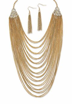 """Gold Tone Waterfall 22"""" Necklace and Drop Earring Set,"""