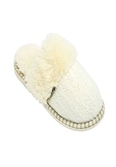 Textured Knit Scuff With Fur Lining Slippers,