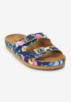 The Maxi Footbed Sandal by Comfortview®, NAVY FLORAL