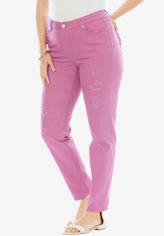 Distressed Twill Jeans by Denim 24/7,