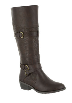 Kelsa Plus Wide Calf Boots by Easy Street®, BROWN E, hi-res