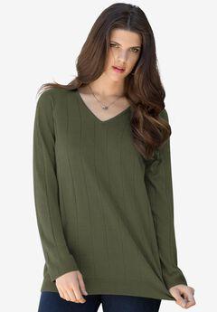 Fine Gauge Drop Needle V-Neck Sweater,