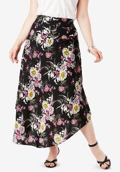 Faux-Wrap Midi Skirt,