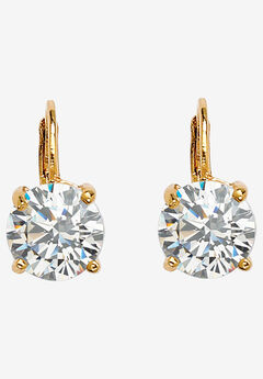 Gold-Plated Drop Earrings with Cubic Zirconia,