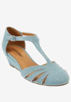 Zora Sandals by Comfortview®, LIGHT DENIM, hi-res