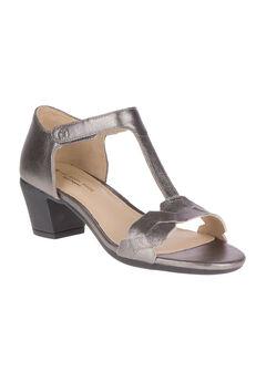 Masseter T-Strap Sandals by Hush Puppies®, GUNMETAL METALLIC SUEDE, hi-res