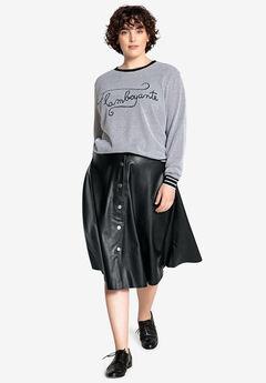 Faux Leather Flared Skirt Castaluna by La Redoute,