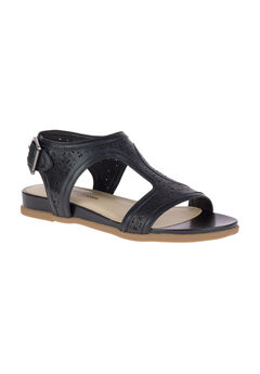 Dalmation T-Strap Sandal by Hush Puppies®, BLACK PERFORATION LEATHER, hi-res