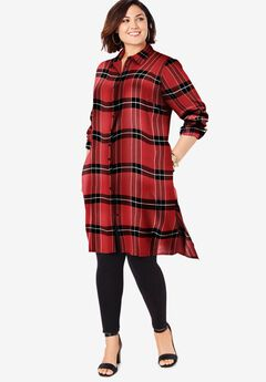 Button-Front Ultra Tunic, RED BLACK TARTAN