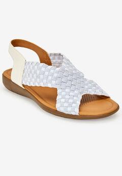 The Celestia Sling Sandal by Comfortview®, WHITE METALLIC
