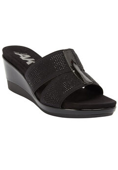 Pallace Wedge Sandals by Anne Klein®, BLACK, hi-res