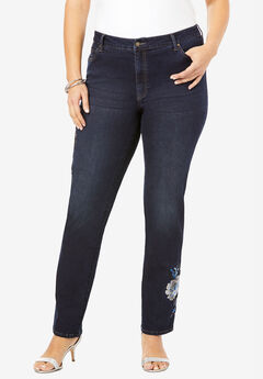 Floral Design Straight-Leg Jean by Denim 24/7®,