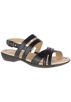 Dachshund Strappy Sandals by Hush Puppies®, BLACK LEATHER, hi-res