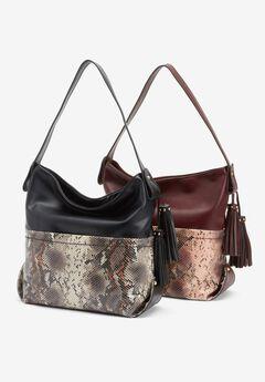 Snake-Print Tasseled Hobo Bag,