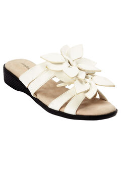 Paula Flower Sandal by Comfortview®, WHITE, hi-res