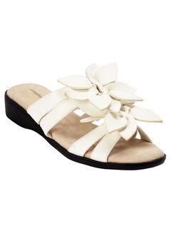 Paula Flower Sandal by Comfortview®, WHITE, hi-res