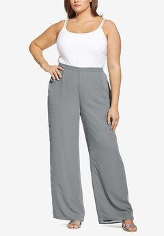 Georgette Wide-Leg Dress Pant, GUNMETAL