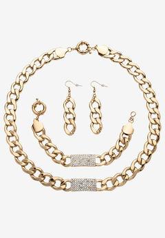 Crystal & Gold Link Necklace, Bracelet & Earring Set,