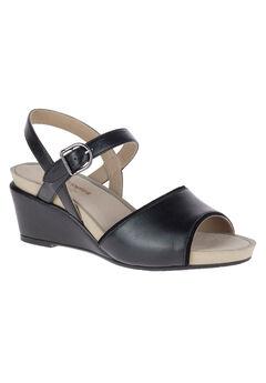 Cassale Qtr Strap Sandal by Hush Puppies®, BLACK LEATHER, hi-res