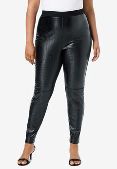 Textured Faux-Leather Legging,