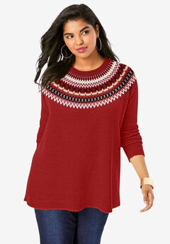 Fair Isle Pullover Sweater, RED CLASSIC FAIR ISLE