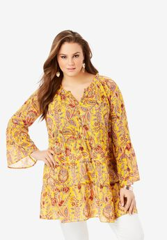 Georgette Tiered Henley Tunic,