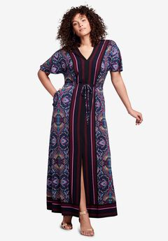 Ultra Smooth Border-Print Maxi Dress,